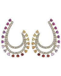 Diana M. Jewels - . Fine Jewelry 14k 1.42 Ct. Tw. Diamond & Sapphire Earrings - Lyst