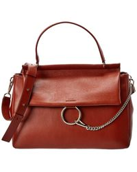 Chloé Faye Chain Detail Leather Satchel - Red
