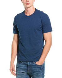 Vince Solid Linen-blend T-shirt - Blue
