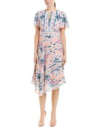 Nanette Lepore Papa's Roses Silk Midi Dress - Pink
