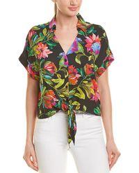 Lavender Brown Floral Buttondown Shirt - Black