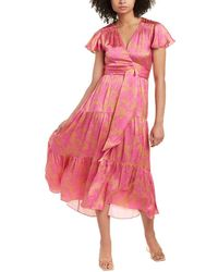 Tanya Taylor Liza Silk Midi Dress - Pink