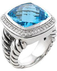 David Yurman David Yurman Albion Silver 13.35 Ct. Tw. Diamond & Blue Topaz Ring