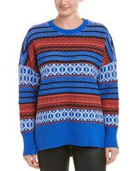 BCBGMAXAZRIA Oversized Jacquard Sweater - Blue