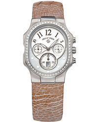 Philip Stein Classic Chronograph Watch W/ Diamond Bezel Champagne - Metallic