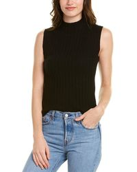 Vince High Neck Cashmere Shell - Black
