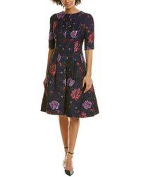 Teri Jon Jacquard A-line Dress - Blue