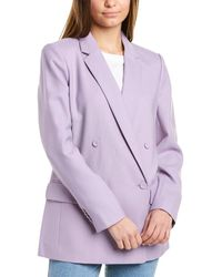 Club Monaco Covered Button Wool-blend Blazer - Purple
