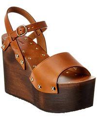 Celine Les Bois Leather Wedge Sandal - Brown