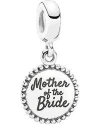 PANDORA Silver Mother Of The Bride Dangle Charm - Metallic