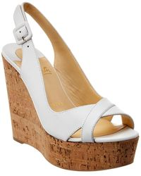 Christian Louboutin Reine De Liege 120 Leather Wedge Sandal - White
