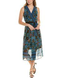 Sandra Darren Pleated Midi Dress - Blue