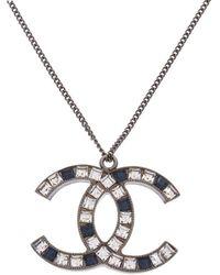 Chanel - Black & Silver-tone Cc Rhinestone Necklace - Lyst