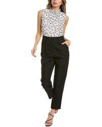 Rebecca Taylor Tai Silk & Linen-blend Jumpsuit - Black
