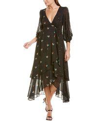 FARM Rio Mixed Roost Wrap Maxi Dress - Black