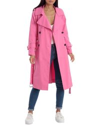 Avec Les Filles Cotton Double-breasted Trench Coat - Pink