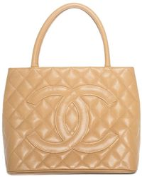 Chanel - Tan Quilted Caviar Leather Medallion Tote - Lyst