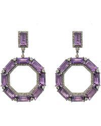 Arthur Marder Fine Jewelry Silver 34.13 Ct. Tw. Diamond & Amethyst Drop Earrings - Metallic