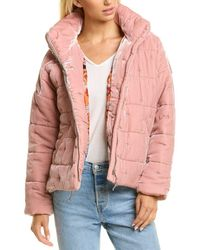 Johnny Was Zaelia Silk-blend Puffer Jacket - Pink