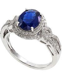 Effy Fine Jewellery 14k 2.27 Ct. Tw. Diamond & Sapphire Ring - Blue