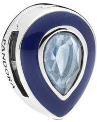 PANDORA - Reflexions Silver Crystal & Enamel Blue Teardrop Clip Charm - Lyst