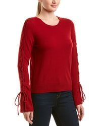 White + Warren Wool & Cashmere-blend Lace-up Sleeve Sweater - Red