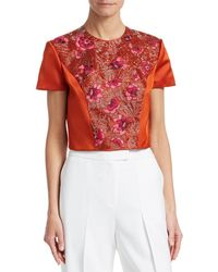 Zac Posen Bead Embroidery Crop Blouse - Orange
