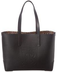 Burberry Tb Embossed Internal-monogram Medium Tote Bag - Black