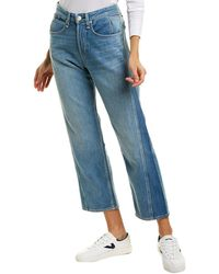 Rag & Bone Maya High Waist Ankle Straight Leg Jeans - Blue