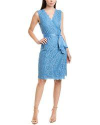 Diane von Furstenberg Julianna Satin-trimmed Corded Lace Mini Wrap Dress Light Blue