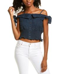 Kendall + Kylie Eyelet Lace Crop Top - Blue