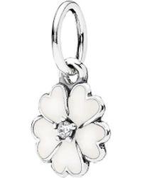 PANDORA - Silver Cz & Enamel Flower Dangle Charm - Lyst