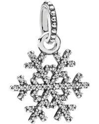 PANDORA - Silver Cz Winter Kiss Pendant - Lyst