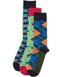 Happy Socks 3pk Socks - Blue