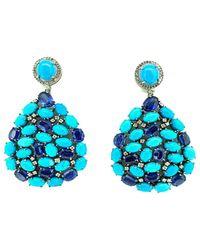 Arthur Marder Fine Jewelry 14k & Silver 0.65 Ct. Tw. Diamond, Turquoise & Kyanite Earrings - Blue