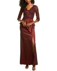 Tadashi Shoji Lace Peplum Gown - Purple