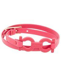 Ferragamo Double Twist Gancini Leather Bracelet - Pink