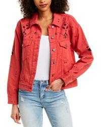 Blank NYC Bandana Cropped Denim Jacket - Red