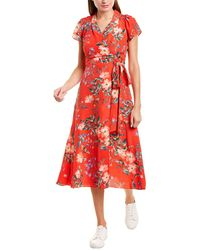 Vince Camuto Printed Midi Dress - Red