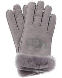 UGG Logo Suede Gloves - Grey