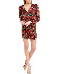 The Kooples Giant Poppy Silk-blend Wrap Dress - Pink