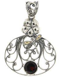 Samuel B. Jewellery 18k & Silver 2.50 Ct. Tw. Garnet Dragonfly Pendant - Metallic