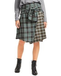 French Connection Este Check Tie Front Skirt - Gray