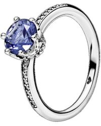 PANDORA Silver Blue Sparkling Crown Solitaire Ring