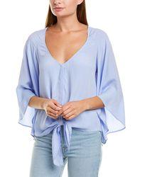 Lavender Brown Tie-front Silk-blend Blouse - Blue