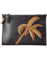 A.L.C. Joni Palm Tree Embroidery Pouch - Black