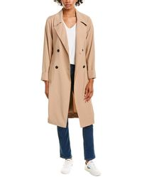 1.STATE Soft Twill Belted Trench Coat - Brown