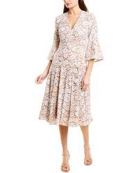 Michael Kors Deep V-neck Lace Bell-sleeve Dress - White
