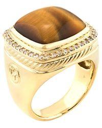 David Yurman David Yurman Albion 18k 0.40 Ct. Tw. Diamond & Tiger's Eye Ring - Metallic