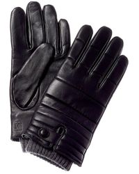 Bruno Magli Touchtech Cashmere-lined Quilted Leather Gloves - Black